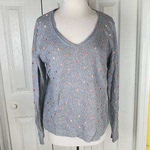 Old Navy gray rose gold polka dot v neck sweater